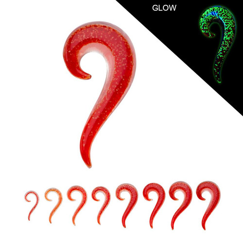 Red Glass Glow in the Dark Spiral Tails (6 g - 7/16 inch)