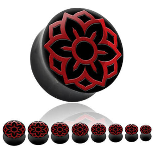 Buffalo Horn with Red Lotus Flower Inlay Plugs (0 gauge - 7/8 inch)