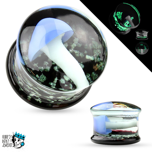 Blue Glow in the Dark Mushroom Glass Plugs (2 gauge - 5/8 inch)