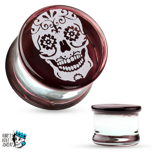 Sugar Skull Glass Plugs (2 gauge - 5/8 inch)