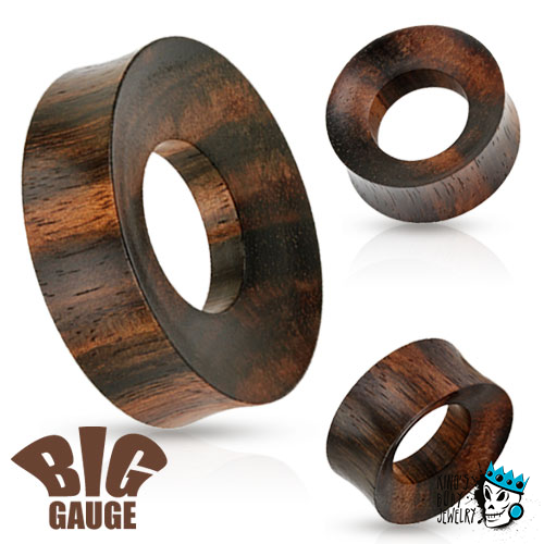 "Large Rimmed Iron Wood Tunnels (1"" - 2 inch)"