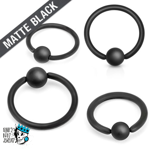 captive bead rings MATTE BLACK (20g - 10 gauge)