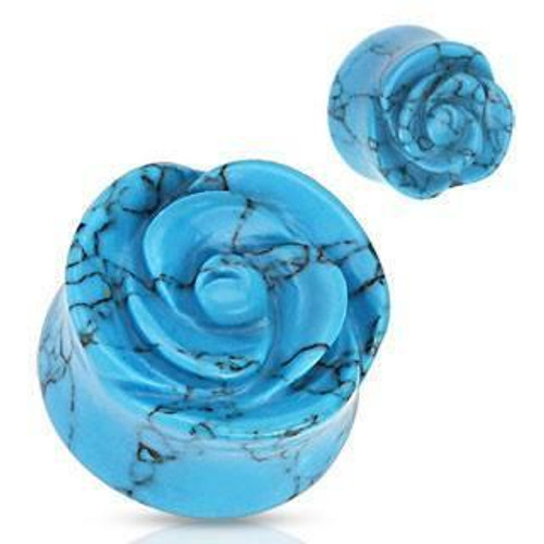 Turquoise Rose Carved Stone Plugs