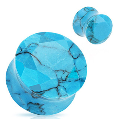 Turquoise Facet Cut Stone Plugs (8 g - 1 inch)