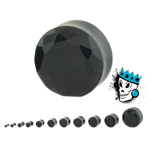 Black Facet Cut Glass Plugs