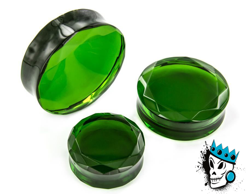 Green Facet Cut Glass Plugs