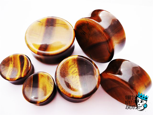 Tiger's Eye Concave Stone Plugs