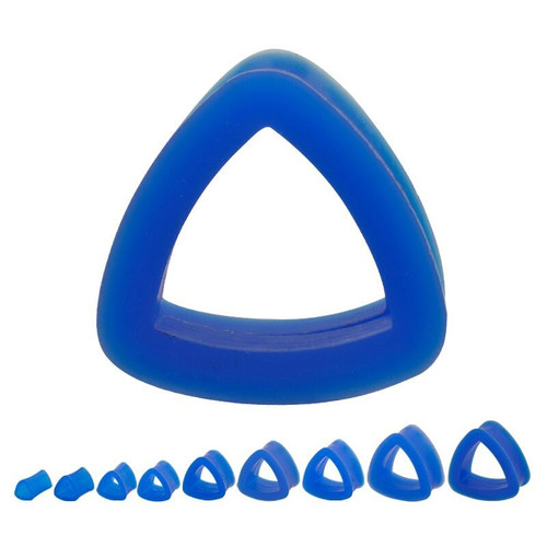 Blue Silicone Triangle Tunnels (0 gauge - 1 inch)