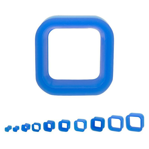 Blue Square Silicone Tunnels  (2g - 1 inch)
