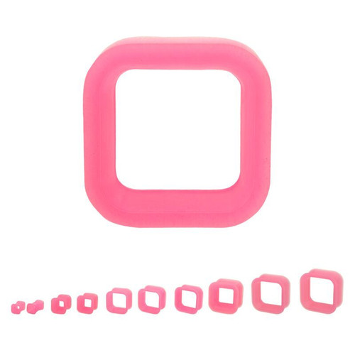 Pink Square Silicone Tunnels  (2g - 1 inch)