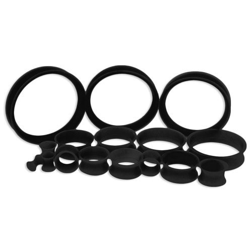 Black Silicone Thin Tunnels (6 gauge - 2 inch)