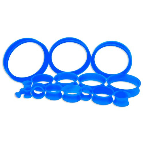 Blue Silicone Thin Tunnels (6 gauge - 2 inch)