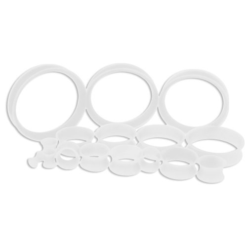 Clear Silicone Thin Tunnels (6 gauge - 2 inch)