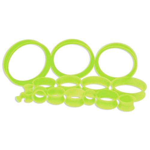 Neon Silicone Thin Tunnels (6 gauge - 2 inch)