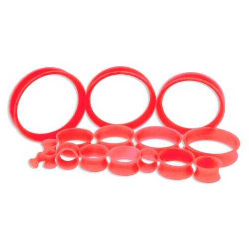 Red Silicone Thin Tunnels (6 gauge - 2 inch)