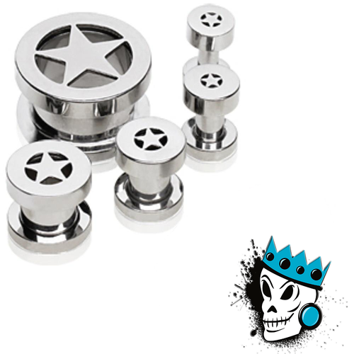 Stainless Steel STAR Flesh Tunnels
