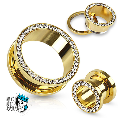 Gold Steel Bling Flesh Tunnels (10 gauge - 1 inch)