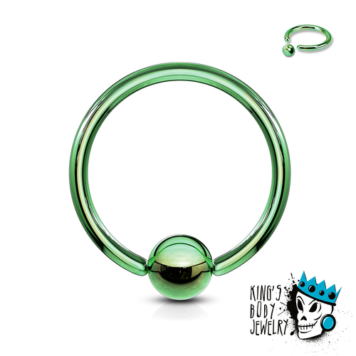 Green Captive Bead Rings