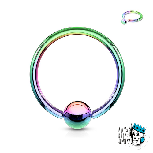 Multicolored Captive Bead Rings (18 g - 8 gauge)
