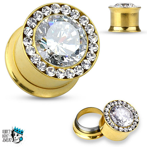 Gold Internally Threaded Ultimate Bling Plugs (2 g - 12 mm)
