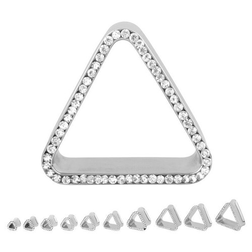 Stainless Steel Bling Triangle Eyelets (0 gauge - 1 inch)