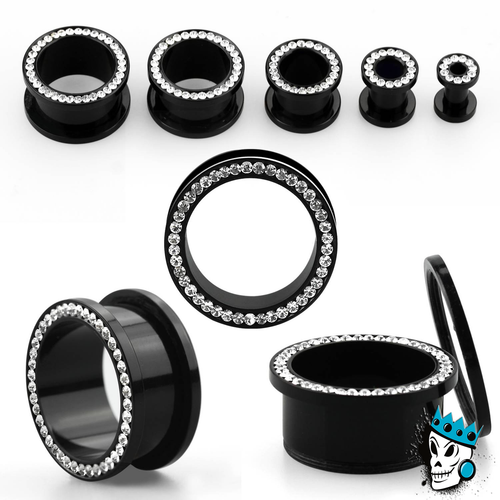Black Acrylic Bling Flesh Tunnels