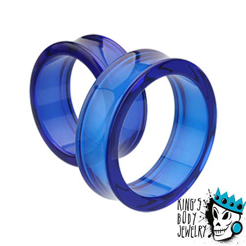 Blue Acrylic Double Flare Tunnels (10 gauge - 2 inch)