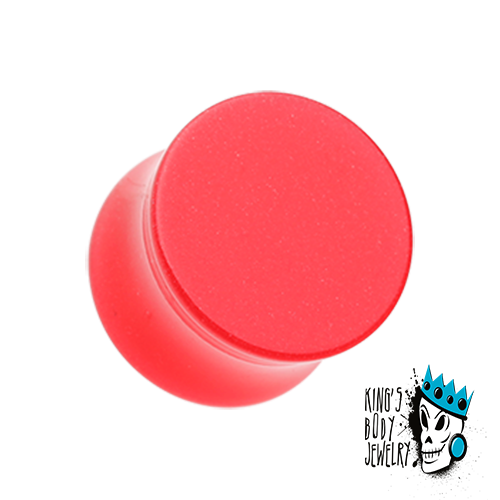 Red Acrylic Glow in the Dark Double Flare Plugs  (8 gauge - 5/8 inch)