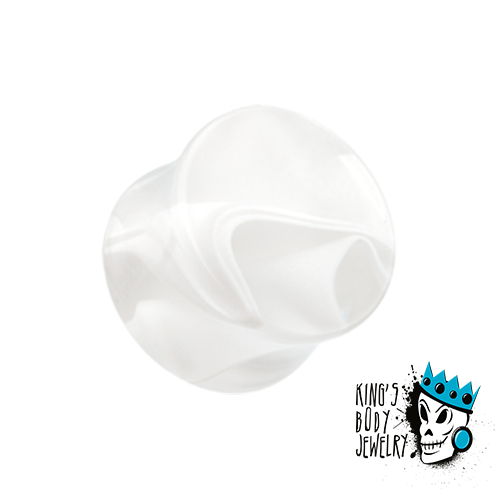 Clear Marble Acrylic Double Flare Plugs