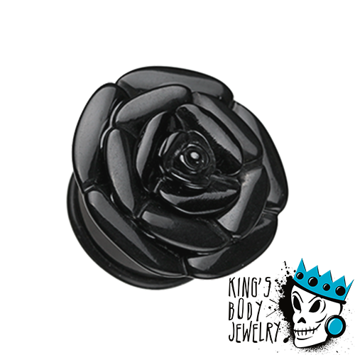 Black Acrylic Rose Plugs