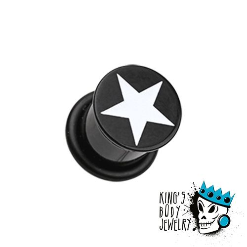 Black Acrylic Single Flare Plug with White Star (6 gauge - 3/4 inch)