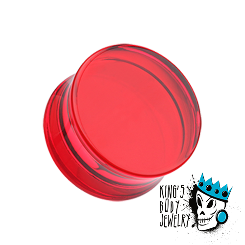 Red Acrylic Double Flare Plugs (8 gauge - 2 inch)