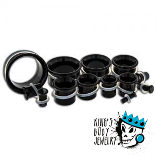 Black Glass Single Flare Tunnels (8g - 1 inch)
