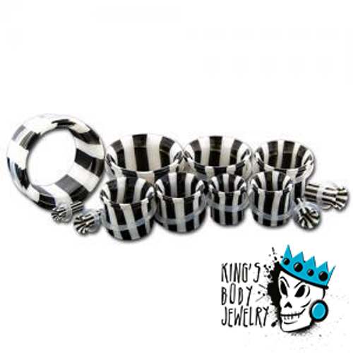 Black and White Striped Glass Single Flare Tunnels