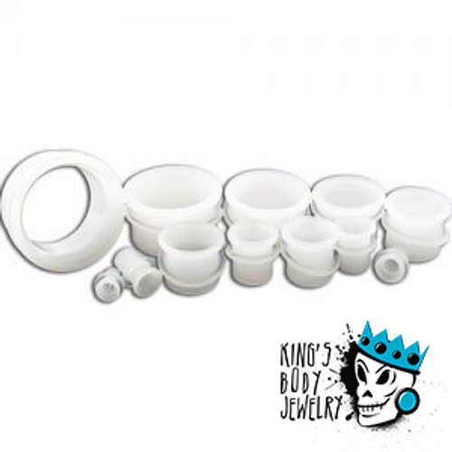 White Glass Single Flare Tunnels