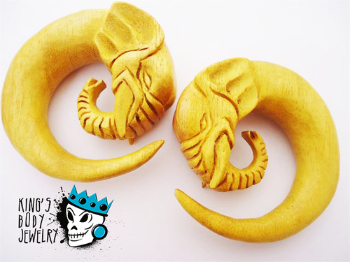 Jackfruit Wood Elephant Design Spirals