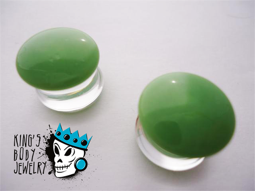 Gorilla Glass Olive Color Front Double Flare Plugs