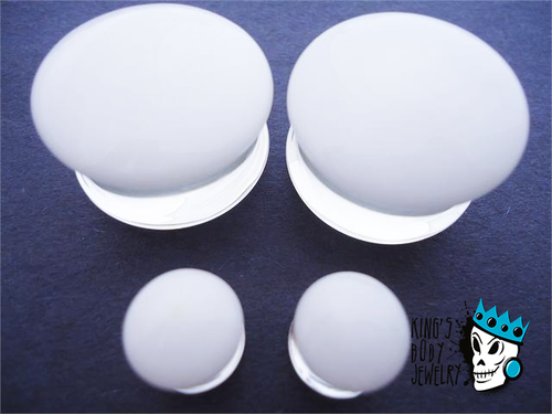 Gorilla Glass White Color Front Double Flare Plugs