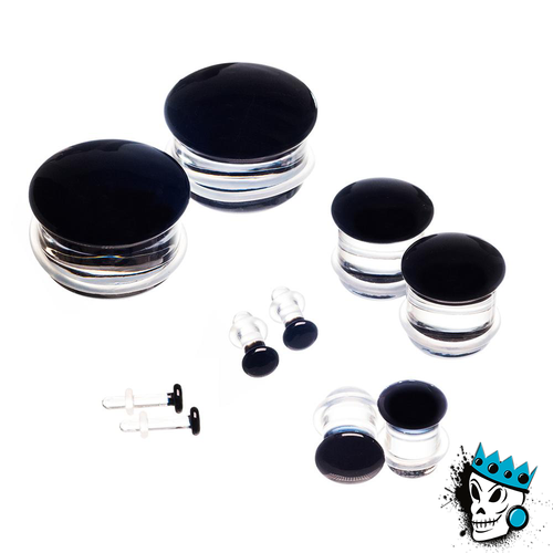 Gorilla Glass Black Color Front Single Flare Plugs