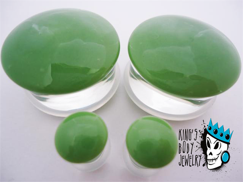 Gorilla Glass Green Color Front Single Flare Plugs