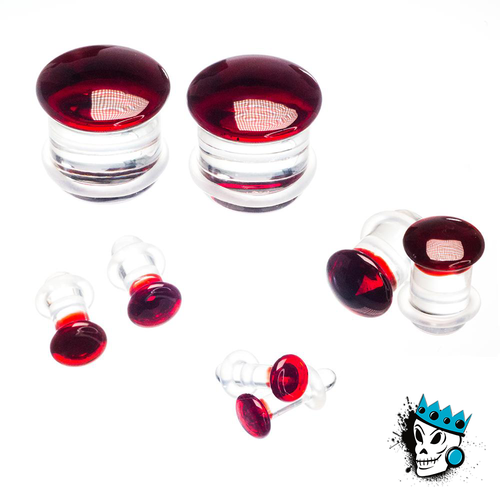 Gorilla Glass Ruby Color Front Single Flare Plugs