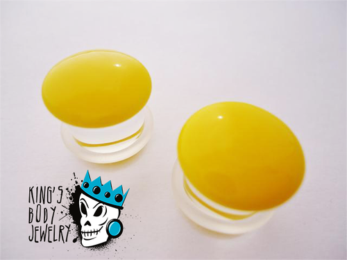Gorilla Glass Yellow Color Front Single Flare Plugs