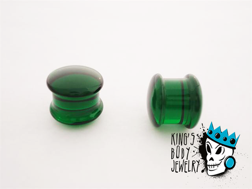 Gorilla Glass Green Solid Double Flare Plugs