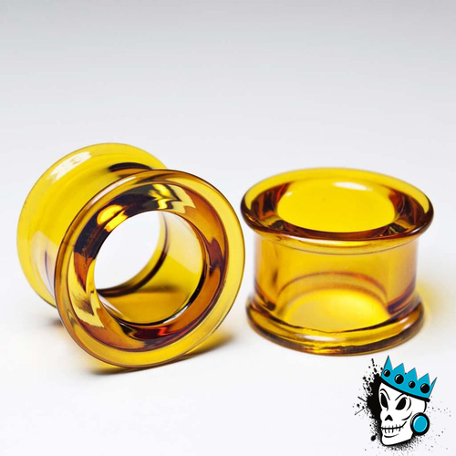 Gorilla Glass Honey Double Flare Tunnels (8 gauge - 1 & 1/2 inch)