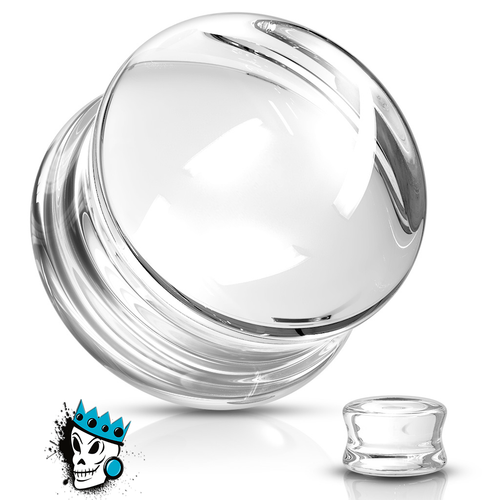 Clear Double Flare Convex Glass Plugs