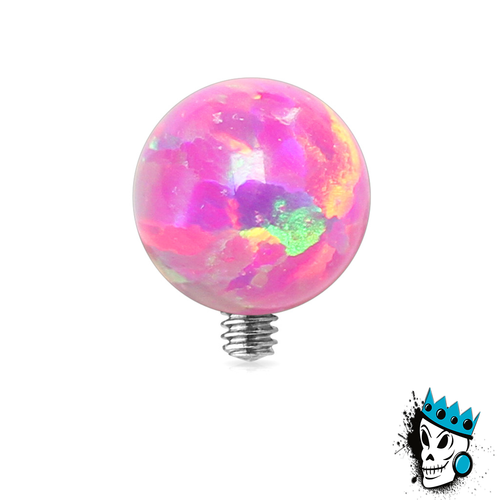 Pink Opal Ball Micro Dermal Top (14 gauge)