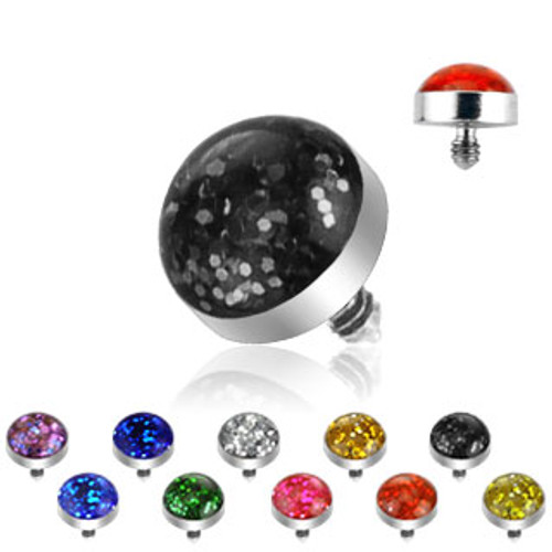 Glitter Dome Stainless Steel Set Micro Dermal Top Bulk Pack