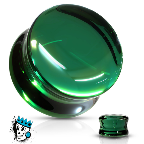 Green Double Flare Convex Glass Plugs