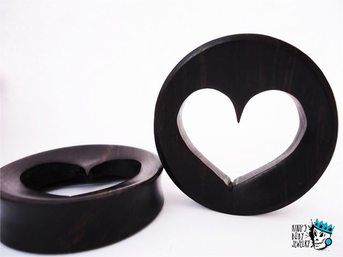Heart Cut Out Ebony Wood Plugs