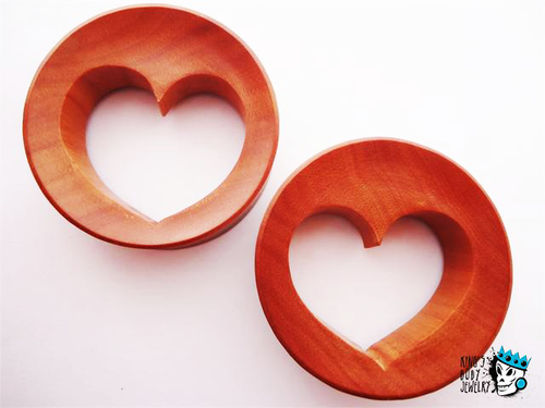 Heart Cut Out Red Saba Wood Plugs